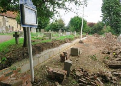 St Mary Virgin Church North Shoebury Rebuilding the Churchyard Wall 2018 3