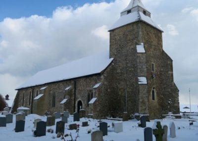 St Mary's North Shoebury in the snow 1