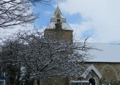 St Mary's North Shoebury in the snow 2