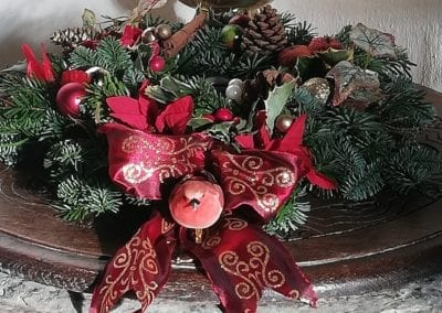 Christmas wreath on the font 2019